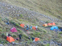 the tents on rinjani mountain